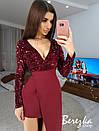 Асимметричное платье с верхом из пайеток на запах и длинным рукавом 66py385E, фото 3
