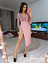 Асимметричное платье с верхом из пайеток на запах и длинным рукавом 66py385E, фото 6