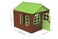 Дом со шторками (коричневый с зеленой крышей) 02550/4 (Ф) (шт.)