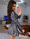 Платье из пайеток с расклешенной юбкой и высоким горлом 66py386E, фото 2