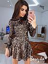 Платье из пайеток с расклешенной юбкой и высоким горлом 66py386E, фото 5