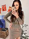 Короткое люрексовое платье с верхом на запах и длинным рукавом 58py486, фото 3