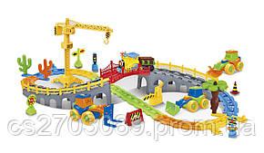Железная дорога для малышей с мостом и краном, 95 элементов, фото 2
