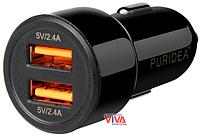 Автомобильное зарядное устройство Puridea CC02 2XUSB Dual Fast Charge Black