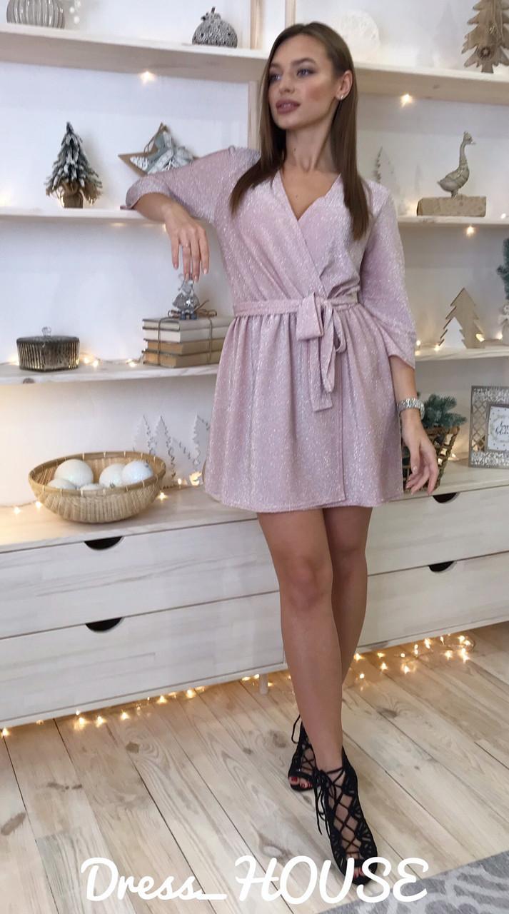 Платье из люрекса с верхом на запах и расклешенной юбкой 5py492