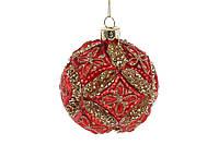 Елочный шар 8см, цвет - красный антик с золотым глитером 6 шт