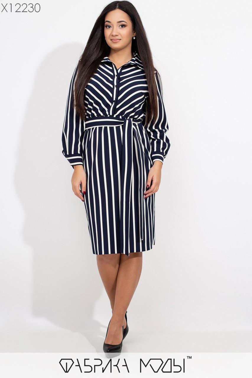 Платье - рубашка в больших размерах в полоску с длинным рукавом и поясом 1ba429