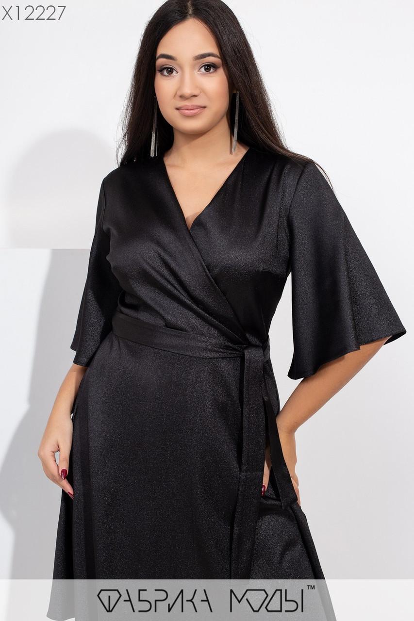 Платье в больших размерах с запахом и широким рукавом 3/4 1ba431