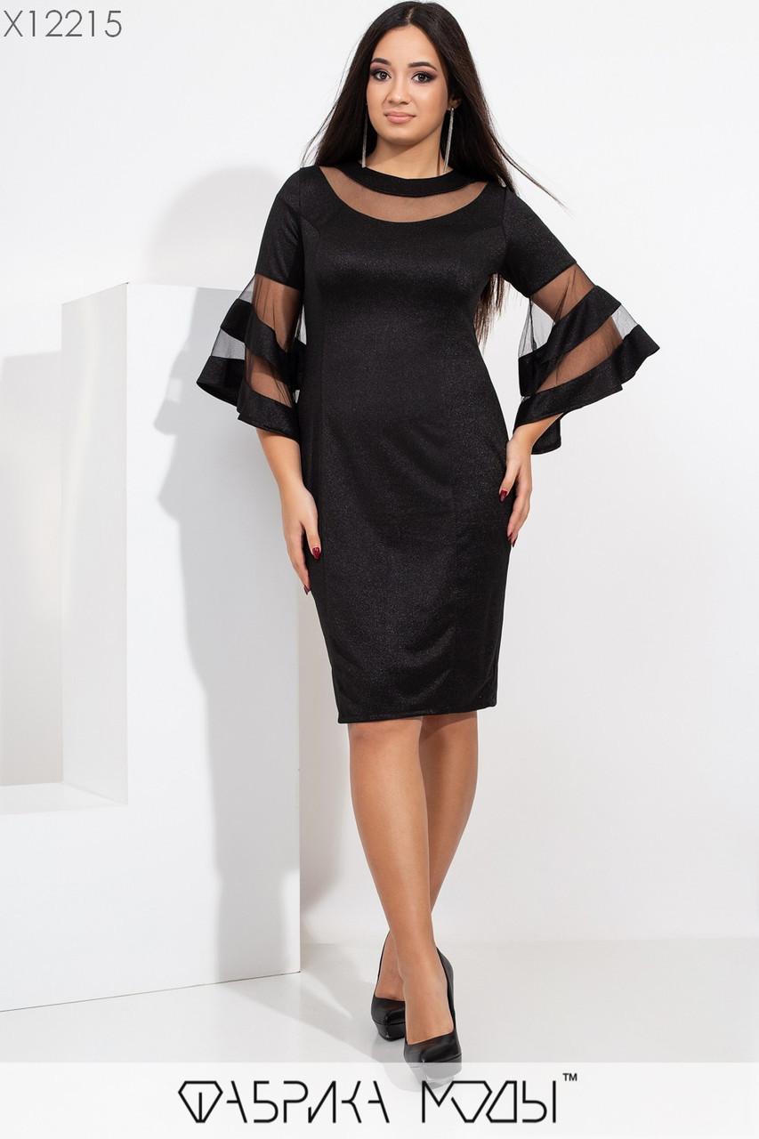 Платье по фигуре в больших размерах с вставками сетки на груди и с широкими рукавами 1ba435