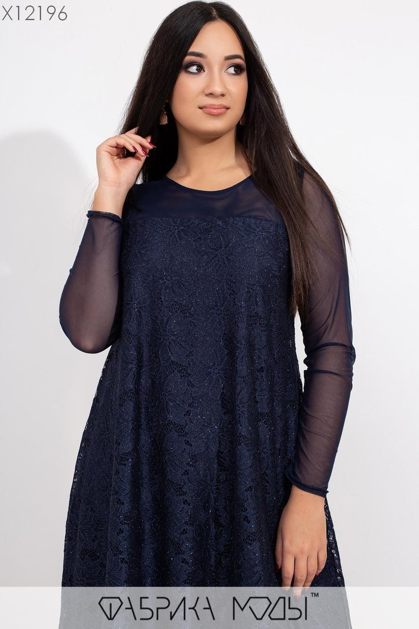 Платье - трапеция в больших размерах с гипюром и напылением 1ba441