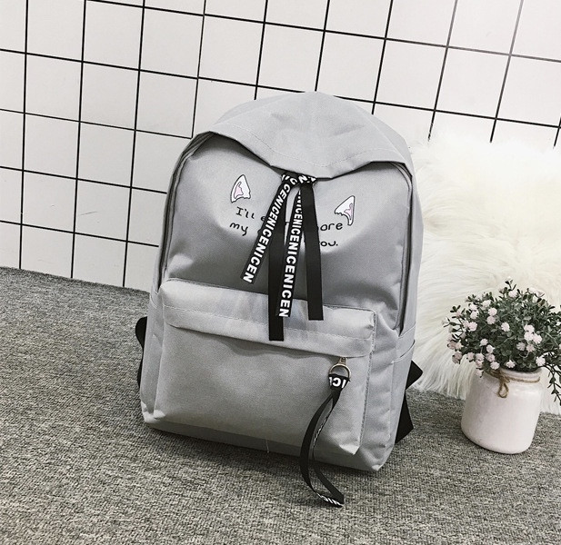 Рюкзак с лентами и ушками(ушки)Cat (черный, серый, розовый)