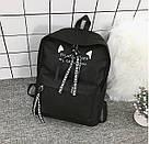 Рюкзак с лентами и ушками(ушки)Cat (черный, серый, розовый), фото 2