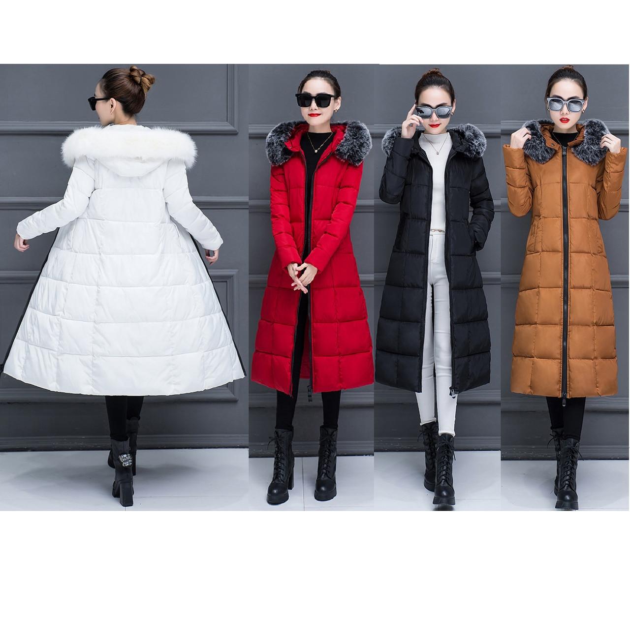 Стёганый женский зимний пуховик-пальто ниже колен с мехом