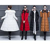 Стёганый женский зимний пуховик-пальто ниже колен с мехом, фото 1