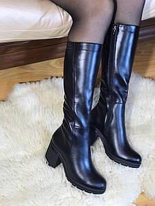 Сапоги женские евро-зима кожаные 39,41 размер черные Зимние Сапоги женские на каблуке
