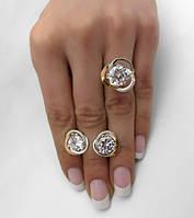 """Серебряный набор серьги и кольцо с золотыми накладками """"Цвет розы"""" - восхитительный женский гарнитур"""