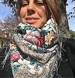 Тайна сердца 1437-1, павлопосадский платок шерстяной с шелковой бахромой, фото 7
