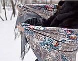 Тайна сердца 1437-1, павлопосадский платок шерстяной с шелковой бахромой, фото 9