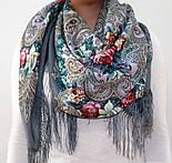 Тайна сердца 1437-1, павлопосадский платок шерстяной с шелковой бахромой, фото 4
