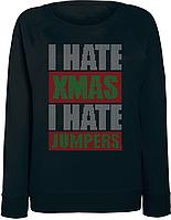 Женский свитшот I Hate XMAS I Hate Jumpers (чёрный)