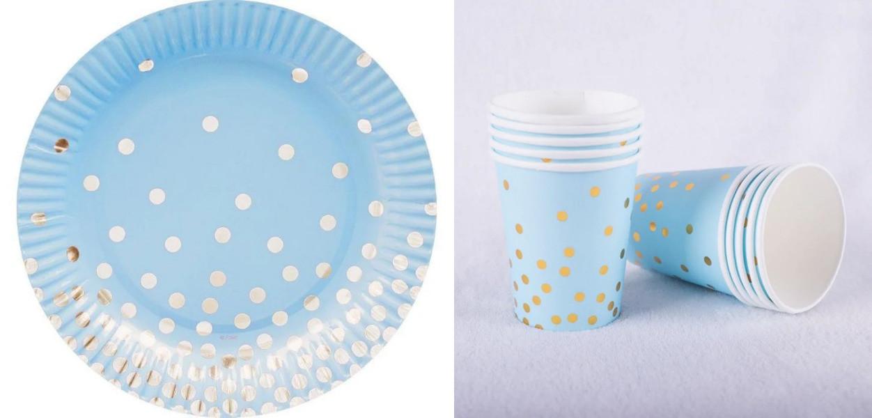 """Набор одноразовой посуды """"Голубой с золотым горохом"""""""