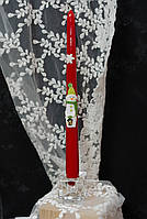 Свеча столовая новогодняя с декором, фото 1
