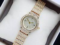 Женские кварцевые наручные часы со стразами NoName