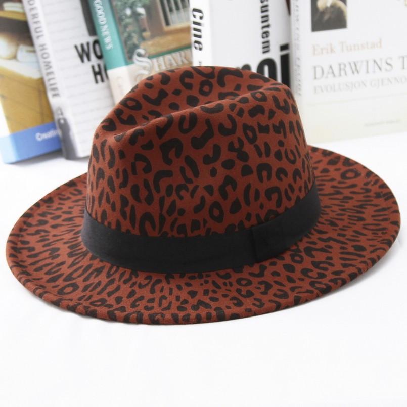Шляпа женская фетровая Федора с устойчивыми полями и лентой леопардовая красная