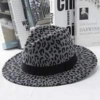 Шляпа женская фетровая Федора с устойчивыми полями и лентой леопардовая серая
