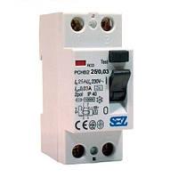 Устройство защитного отключения (УЗО) In=25A, 30mA, 1+N (PCHB2-25/0,03)