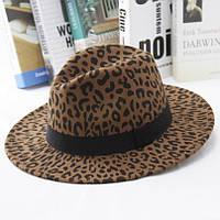 Шляпа женская фетровая Федора с устойчивыми полями и лентой леопардовая коричневая