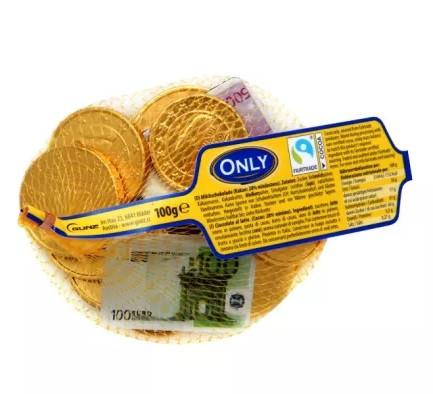 Only Конфеты Шоколадные Монеты Евро сетка 100 г Австрия