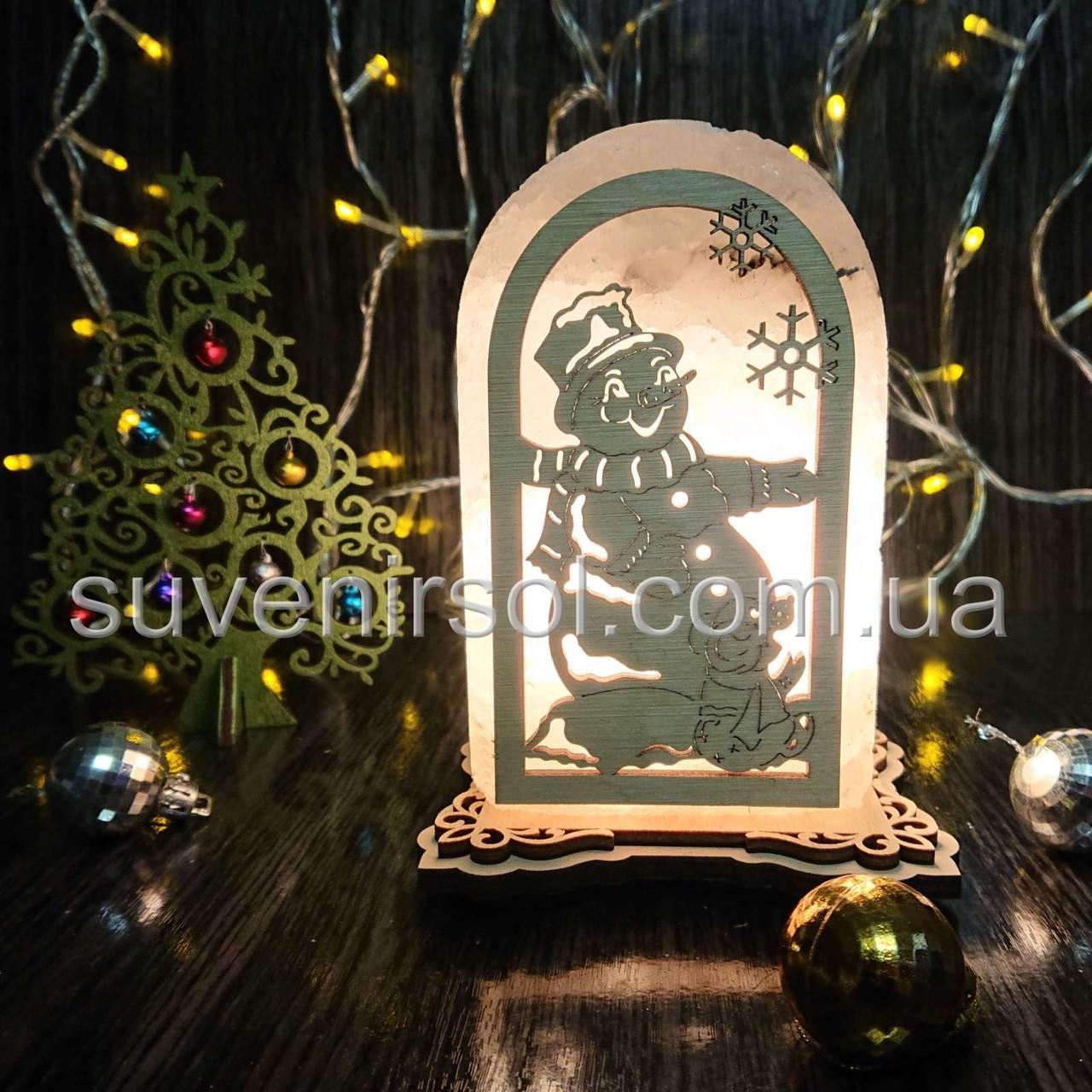 Соляной светильник Арка Снеговик+мышка