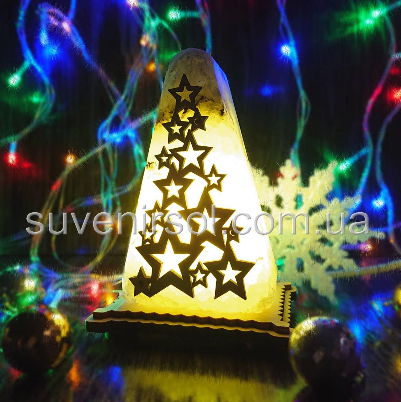 Соляной светильник круглый Елка с узором маленькая