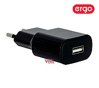 Сетевая зарядка ERGO EWC-120 1xUSB Wall Charger Black