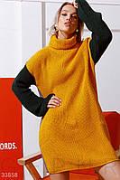 Вязаное теплое платье-свитер медово-серое