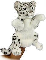 Hansa - Реалистичная мягкая игрушка на руку Снежный барс, 32 см