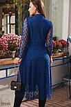 Нарядное сетчатое платье-миди синее, фото 3