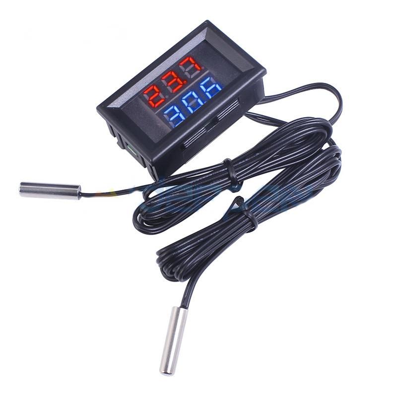 Цифровий термометр з подвійним датчиком для авто, живлення 12 - 24 вольт, колір дисплея червоний + синій