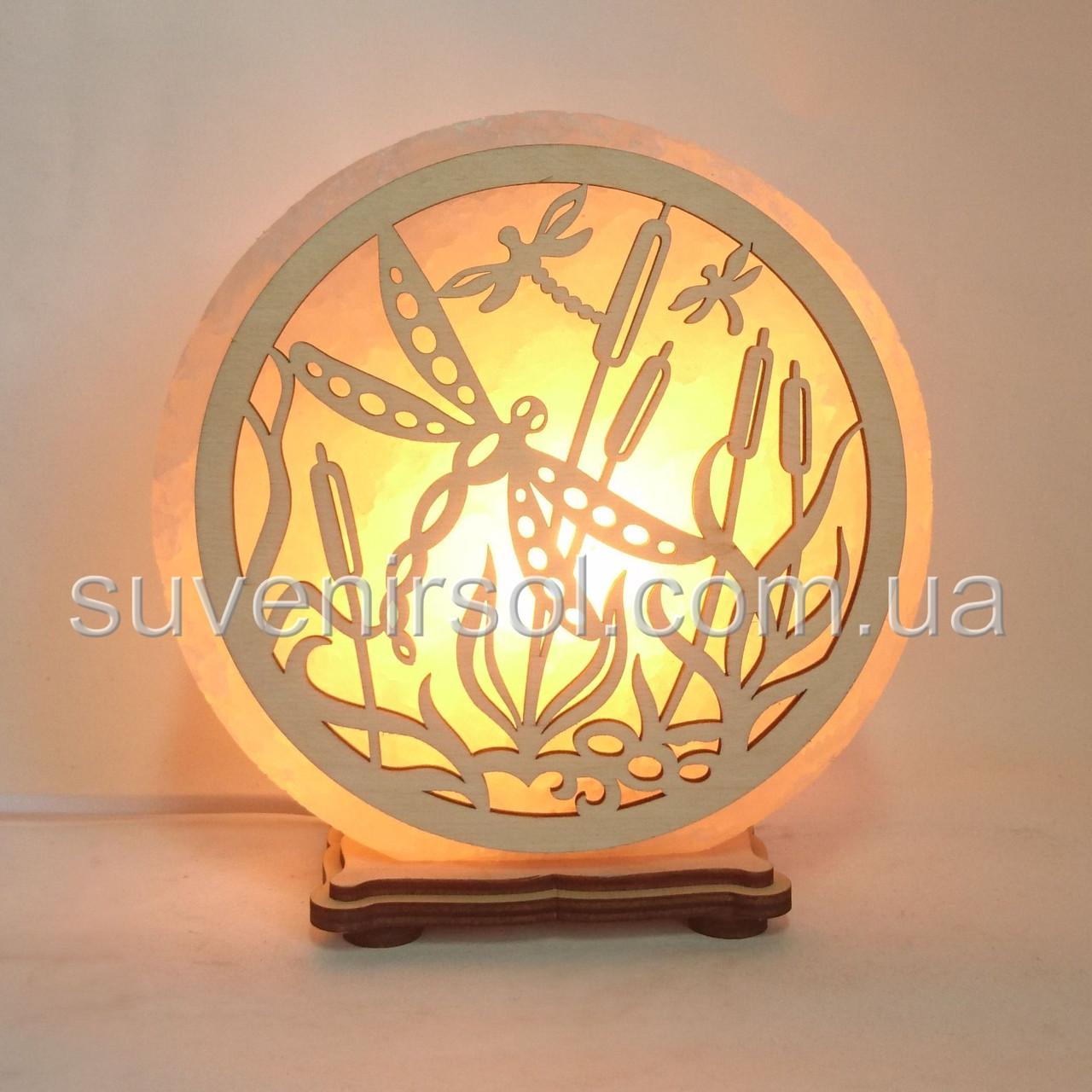 Соляной светильник круглый Стрекозы