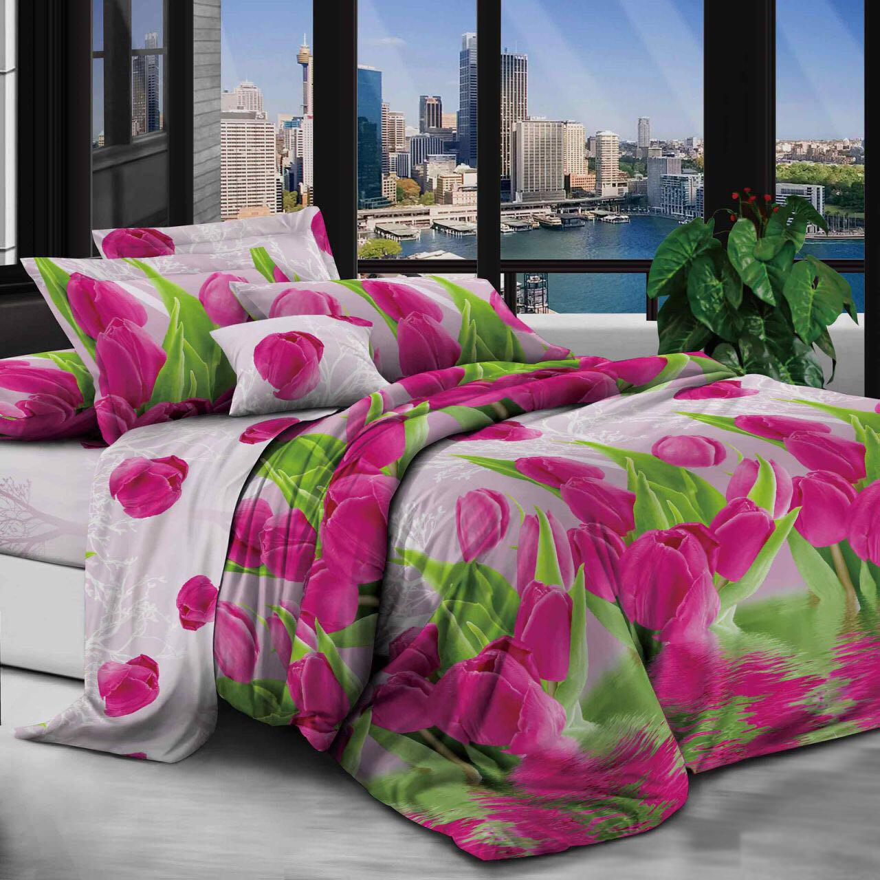 Двуспальный комплект постельного белья евро 200*220 хлопок  (13134) TM KRISPOL Украина