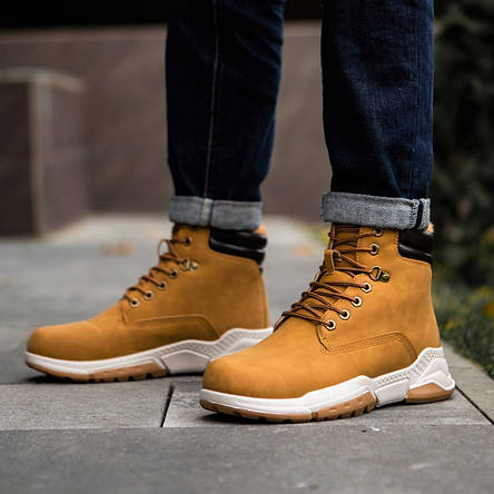 Ботинки чоловічі зимові рудого кольору, фото 2