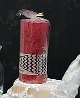 Свічка стовп 15*7 см червона рустик металік з блискітками, фото 1