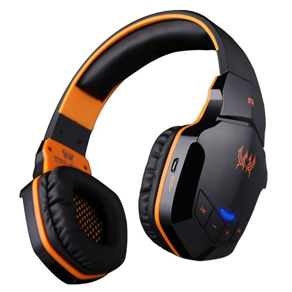 Беспроводные Bluetooth наушники Kotion Each B3505 с автономностью до 10 часов (Черно-оранжевый)