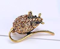 Брошь Мышь-крыса символ 2020 года 3,7*2,3см (под золото), фото 1