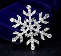 Брошь Снежинка Crystal 4,7*4,7см (кристалл прозрачная), фото 1
