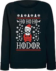 Женский свитшот Game Of Thrones - Ho Ho Ho Hodor (чёрный)