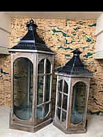 Декоративный деревянный фонарь комплект 3шт