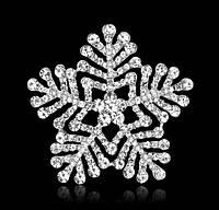 Брошь Снежинка Люкс Crystal 6,0*6,0см (кристалл прозрачная), фото 1