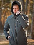 Мужская зимняя длинная парка Asos (Gray), серая длинная зимняя парка, фото 3